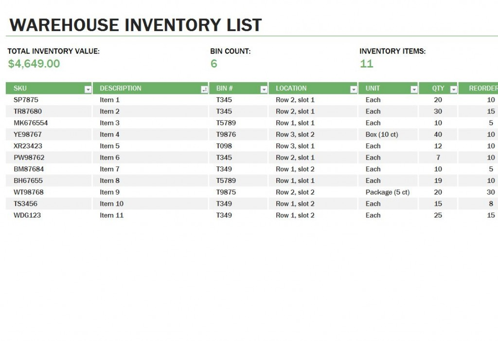 Inventory Excel Template Free. Free Software Inventory Tracking