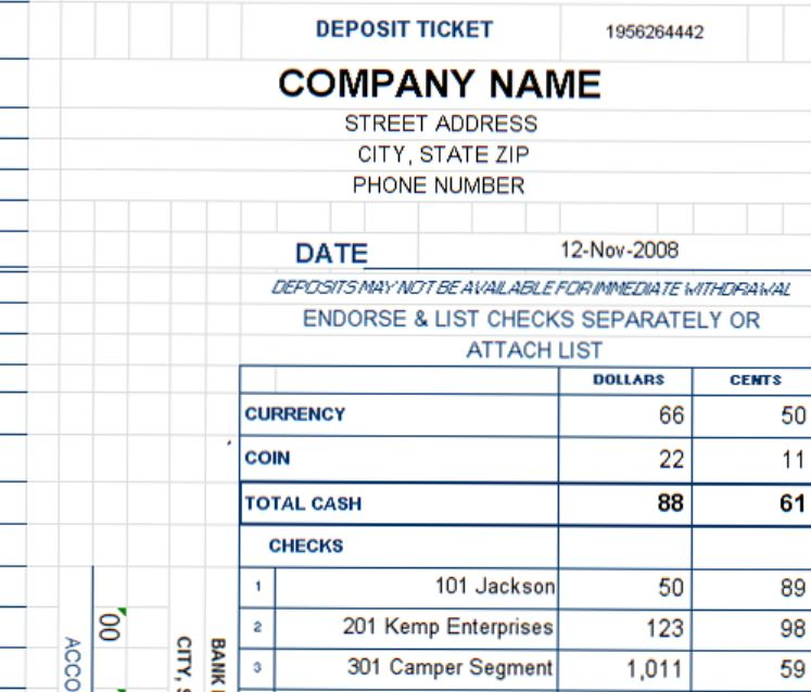 Deposit Ticket Template Excel Deposit Slip Template