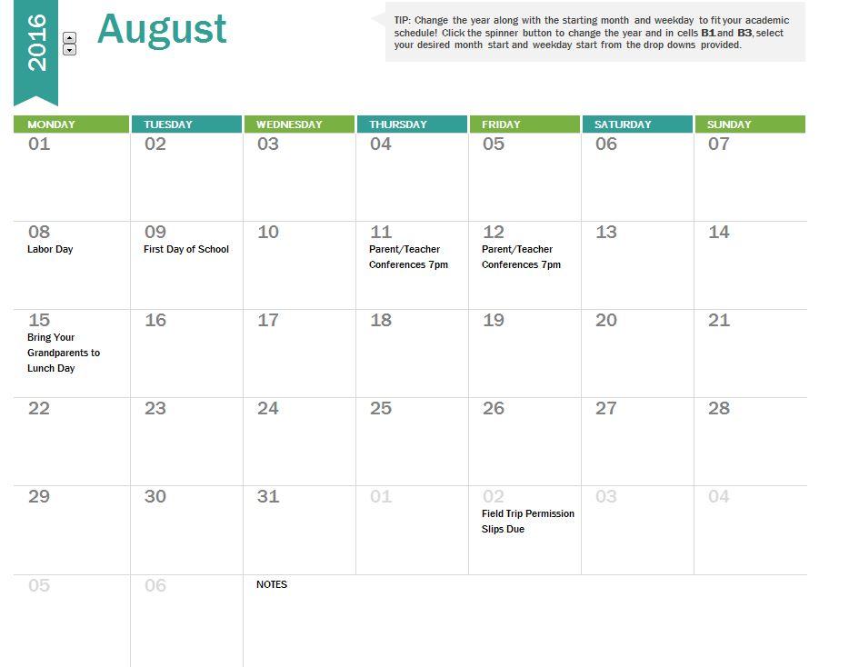 Sample School Calendar Homework Planner Organizer School Calendar - sample planning calendar