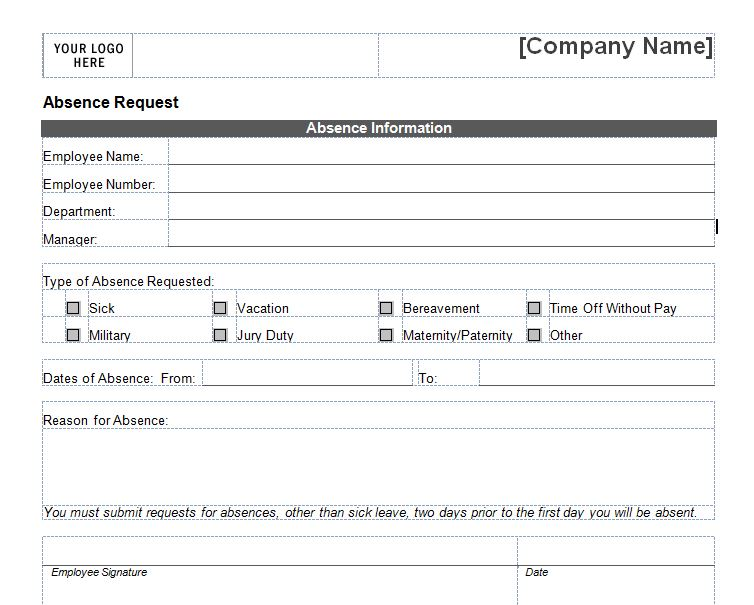 leave request form sample - Antaexpocoaching - application for leave template