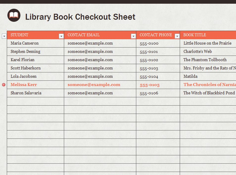 Library Sign Out Sheet Template