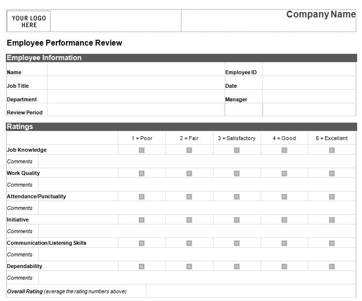 employee review template excel - Onwebioinnovate