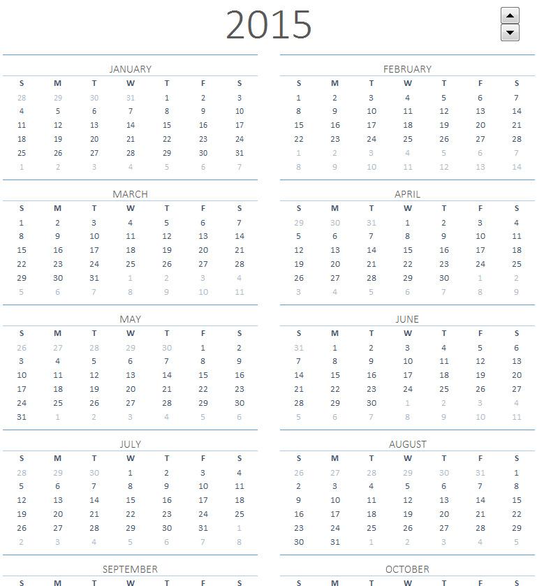2015 Printable Calendar One Page Sheet