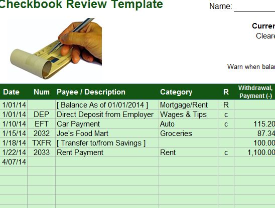 Checkbook Review Template