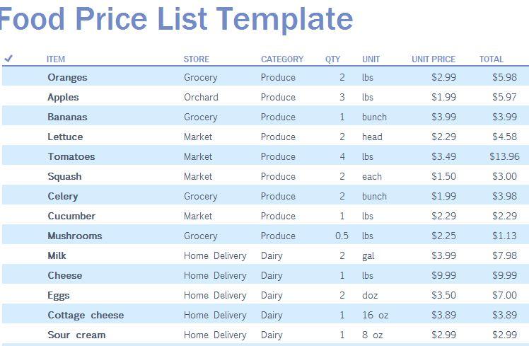 Food Price List Template