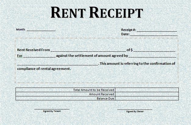 Rental Receipt Template Word - Microsoft Excel Templates