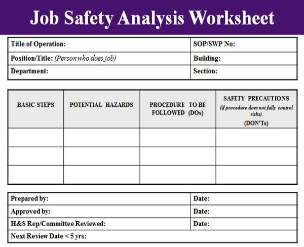 Job Safety Analysis Template - Microsoft Excel Templates