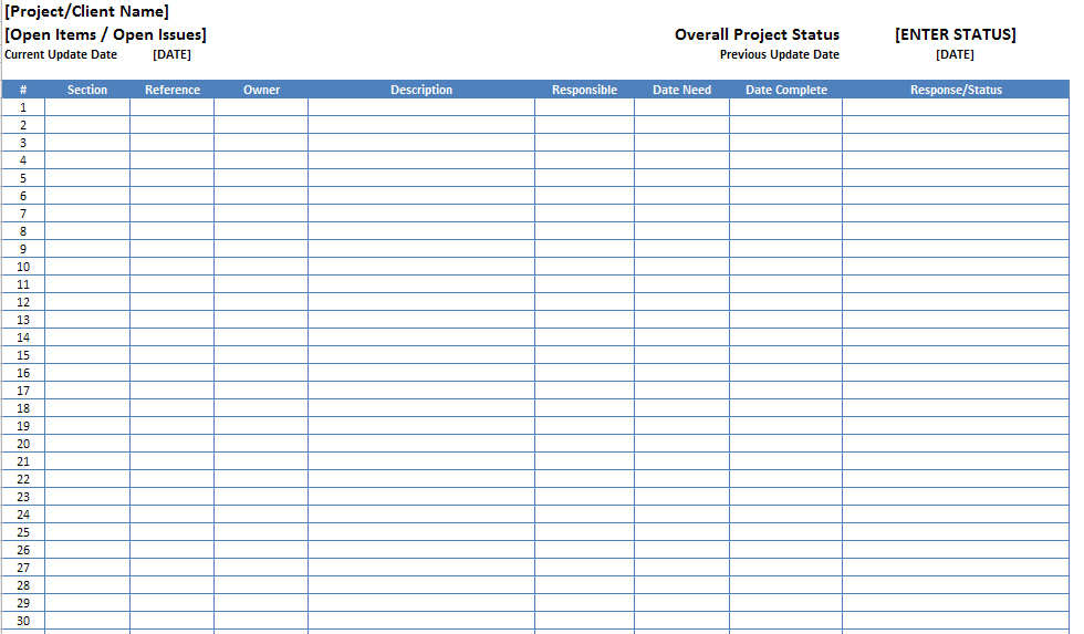 Open Items Issues Log List Template Excel XLS - Microsoft Excel
