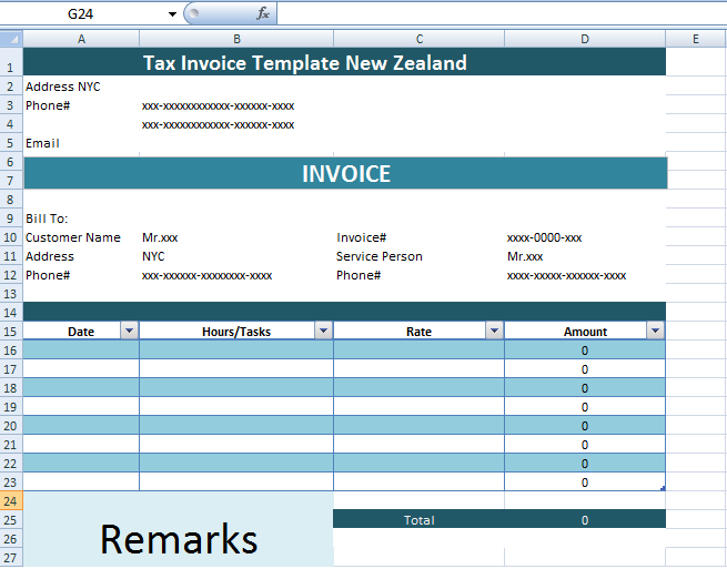 Tax Invoice Template New Zealand Xls Microsoft Excel