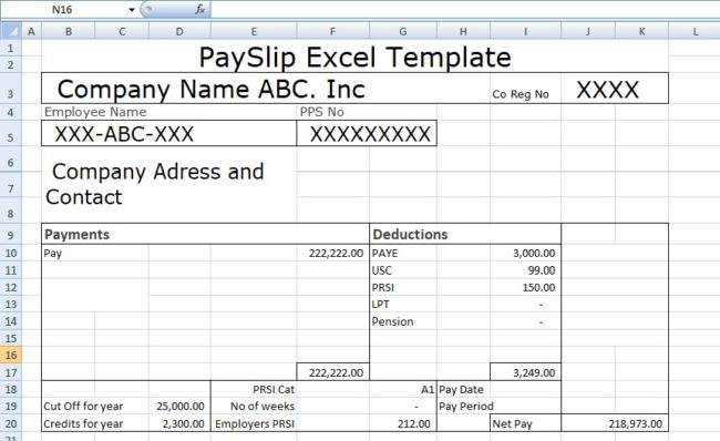 Payslip Template Format In Excel And Word - Microsoft Excel Templates