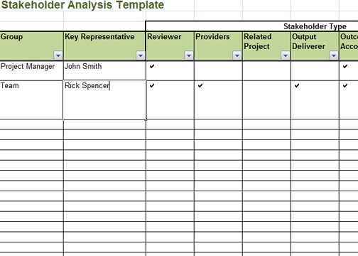 Stakeholder Analysis Template Excel Exceltemple