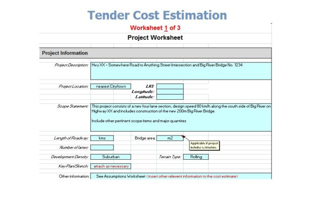 Tender Cost Estimation Spreadsheet Free Download