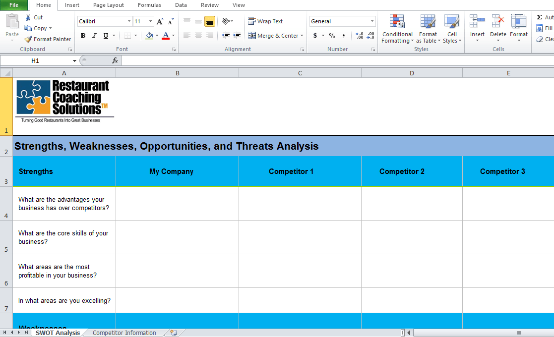 Beautiful Get Swot Analysis Template Excel Excel Tmp - Ivoiregion