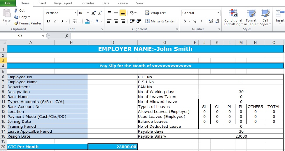 Salary Slip Format In Excel Free Download - Excel Tmp - payslip template in excel
