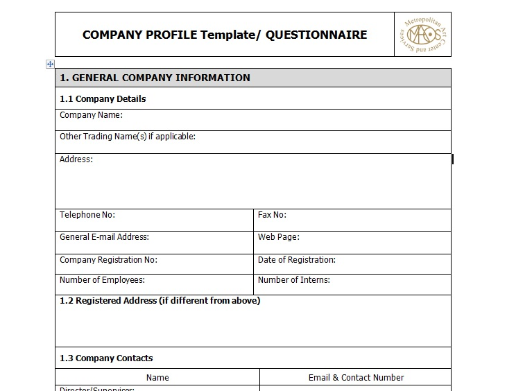 Sample Of Business Company Profile Template - Excel Tmp