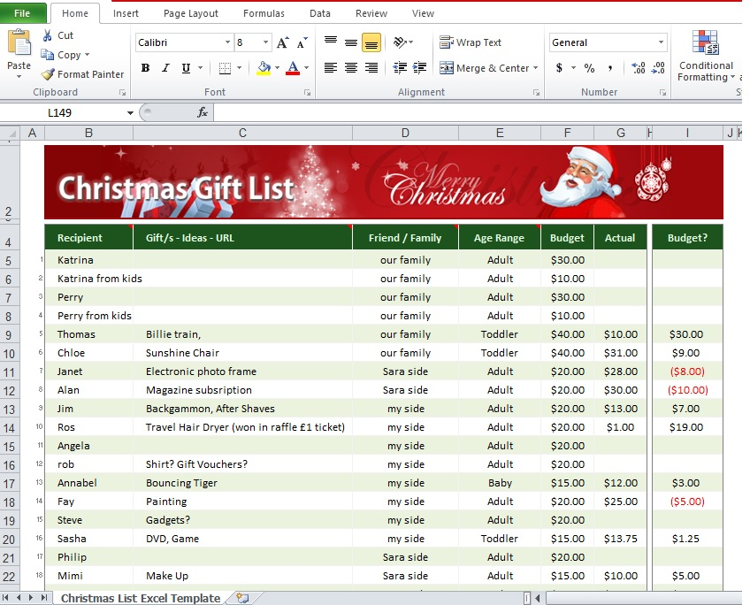 Download Christmas List Excel Template Free - Excel Tmp