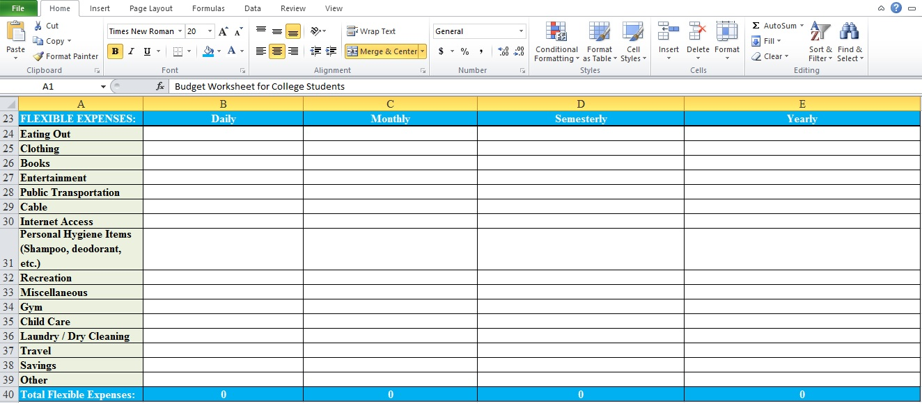 Budget Worksheet For College Students - Excel Tmp