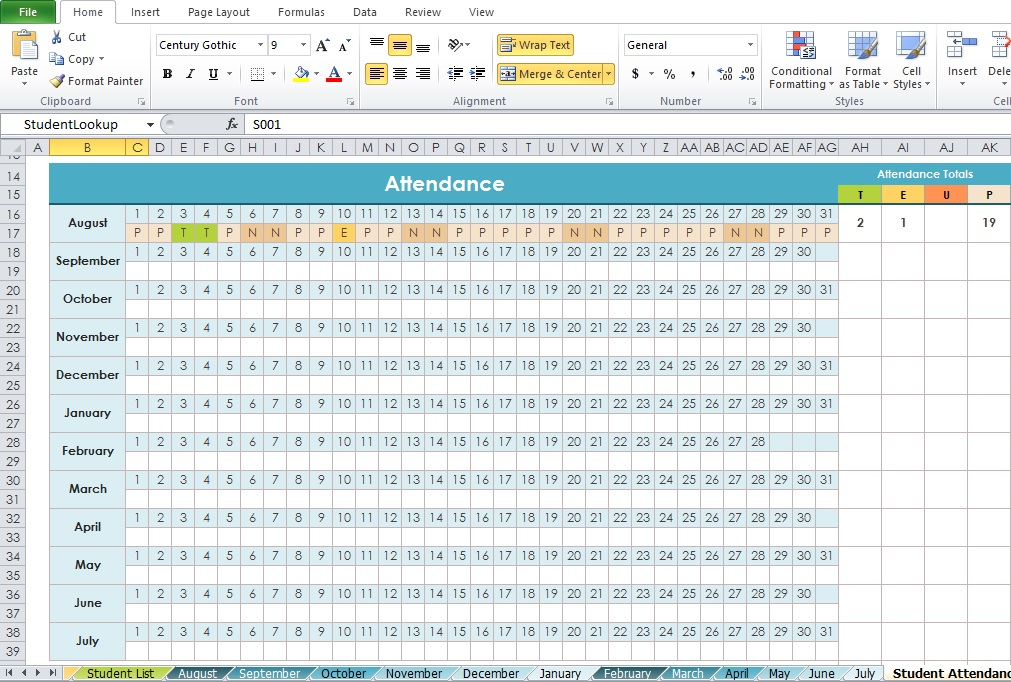 Professional Daily Attendance Format Template - Excel Tmp - daily attendance template