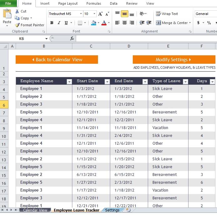 Employee Attendance Report Template - Excel Tmp - attendance report template