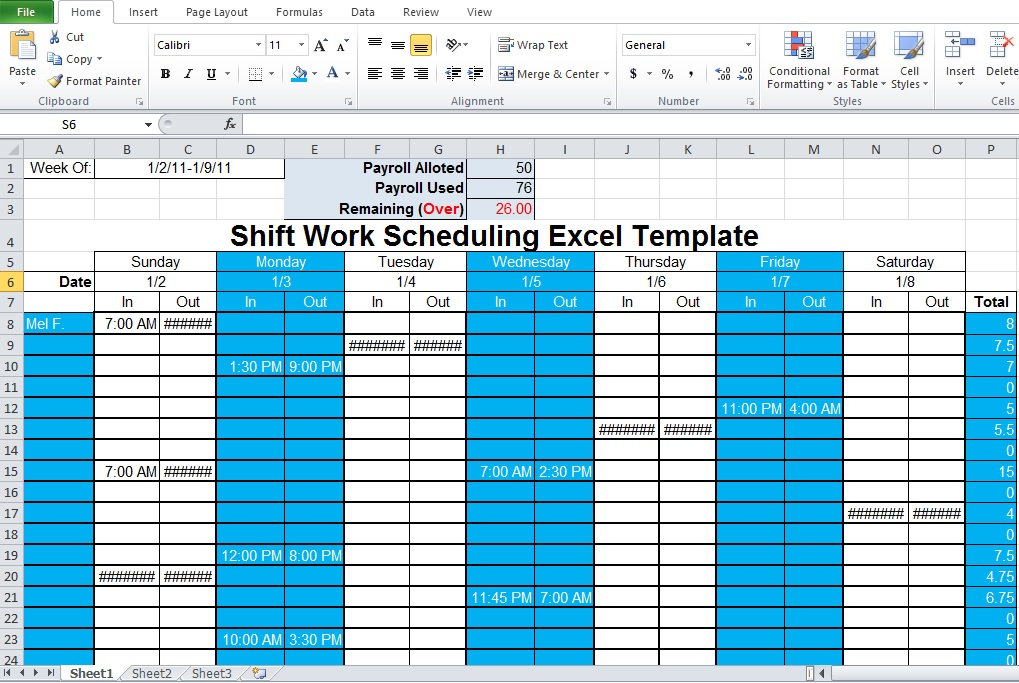 free shift schedule template