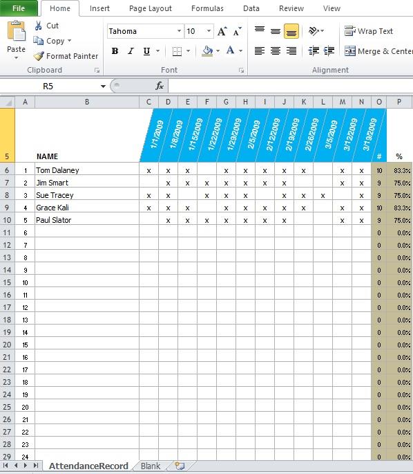 Free Employee Attendance Sheet Template - Excel Tmp - attendance spreadsheet template excel