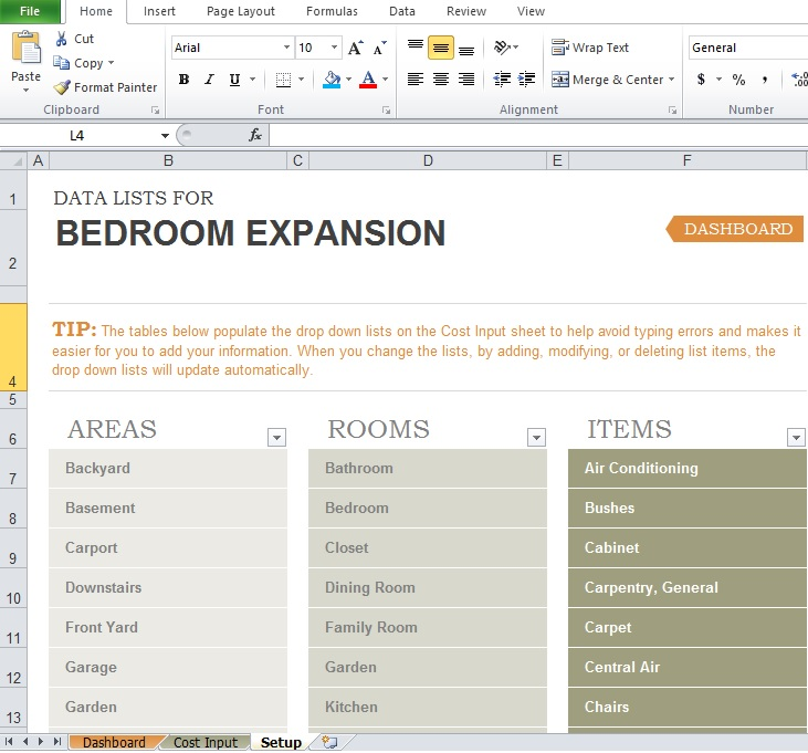 Free Home Renovation Budget Template - Excel Tmp - remodel budget template
