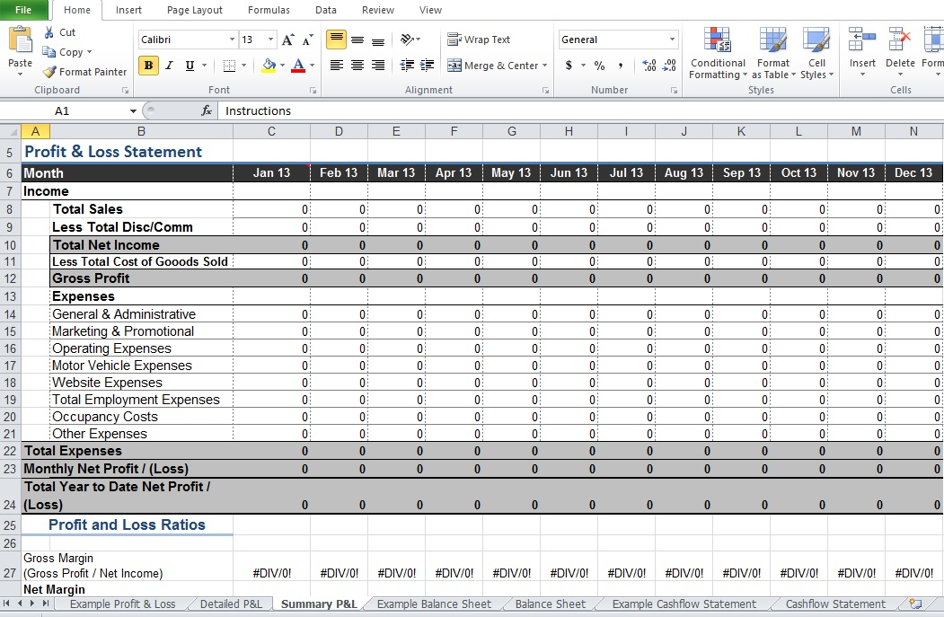 how to make a profit loss statement in excel resume-template