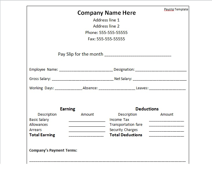Payslip Template Format Word And Excel - Excel Tmp - payslip in word format