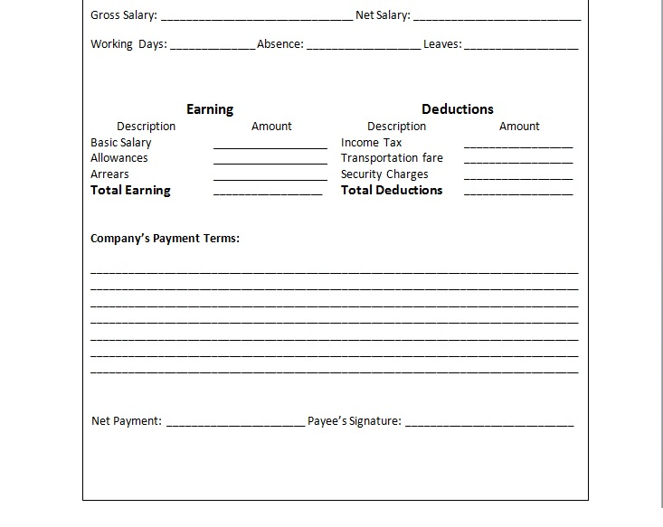 payslip sle word format - 28 images - payslip templates for ms excel - payslip in word format