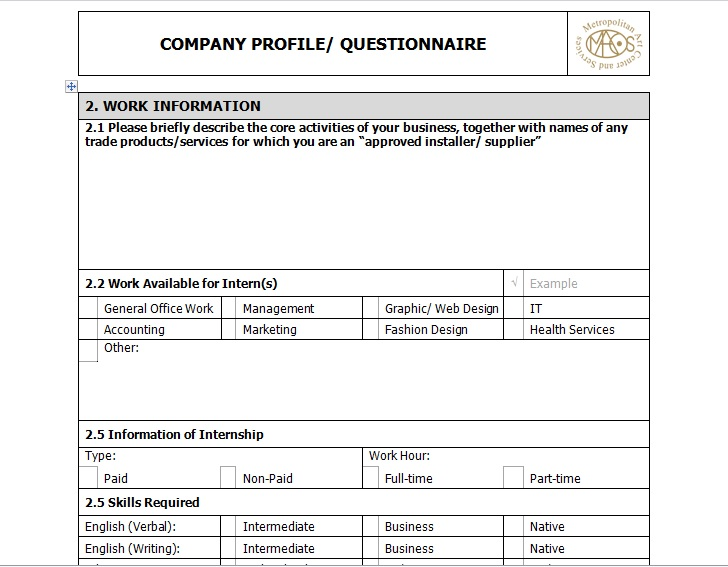 Sample Of Business Company Profile Template - Excel Tmp - business profile template