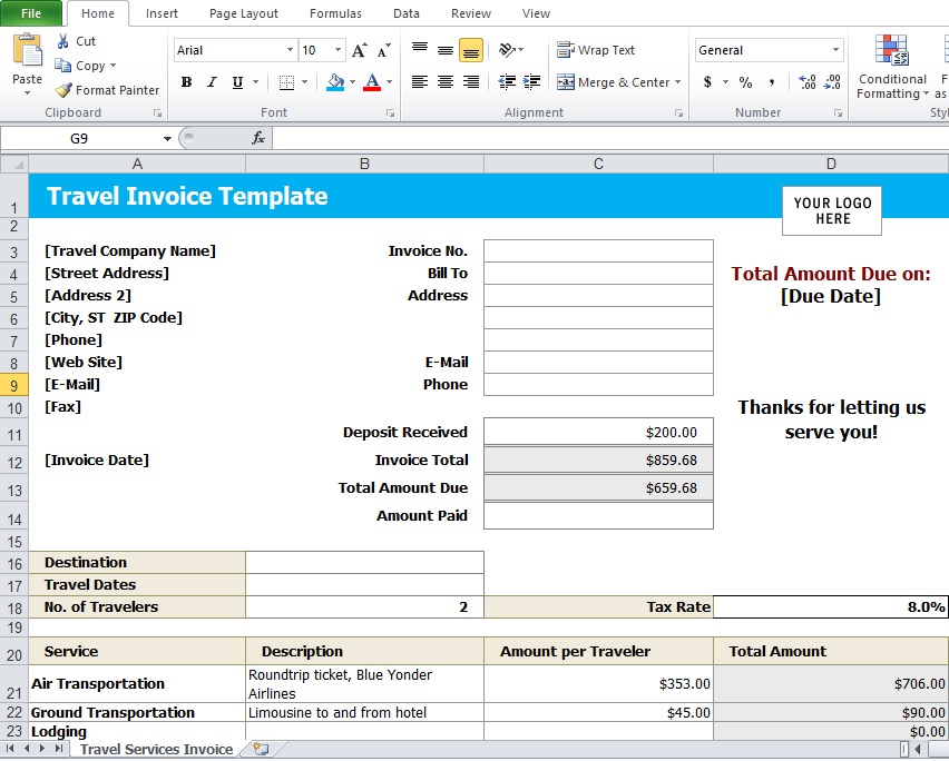Travel Agency Invoice Template - Excel Tmp