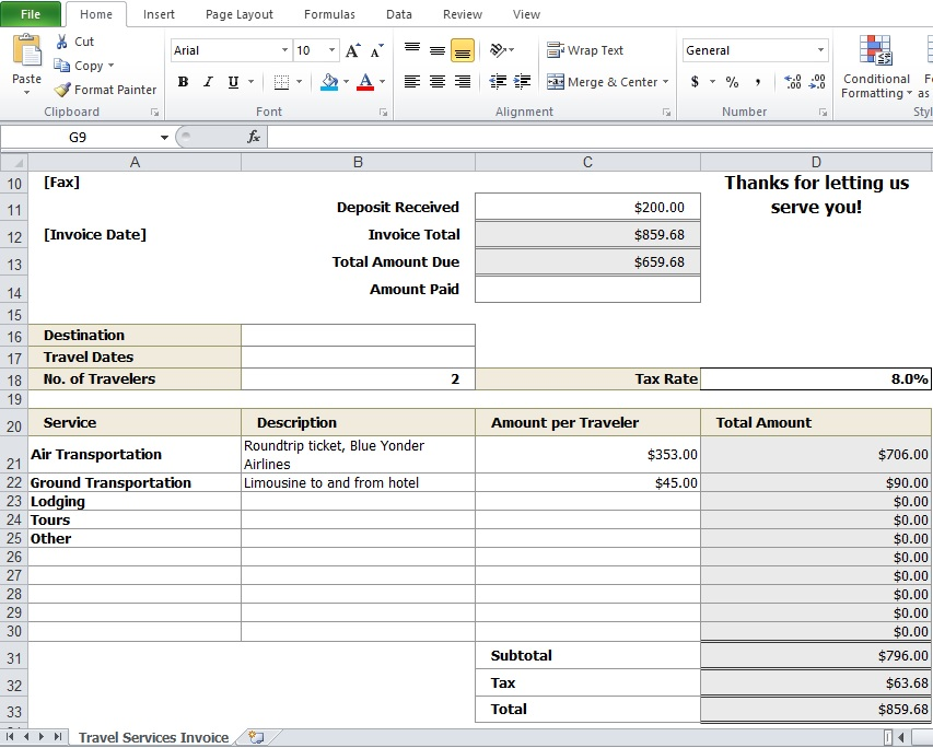 Travel-Agency-Invoice-Format-Exceljpg 853×684 pixels Travel - how to write agenda for a meeting