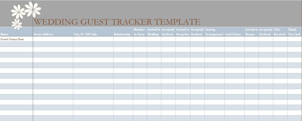 Wedding Guest List Template In Excel - Excel Tmp - wedding guest list template