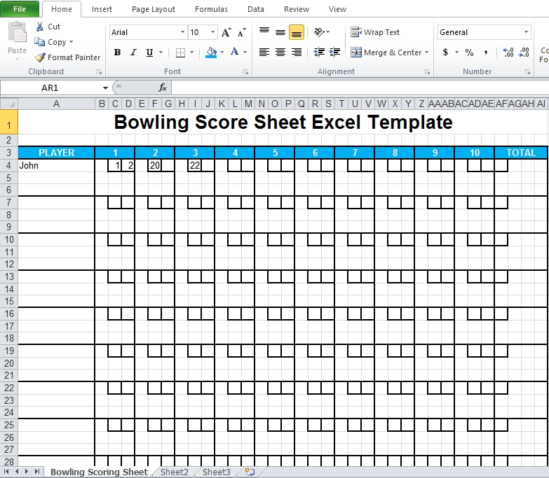 Bowling Score Sheet Excel Template - Excel Tmp