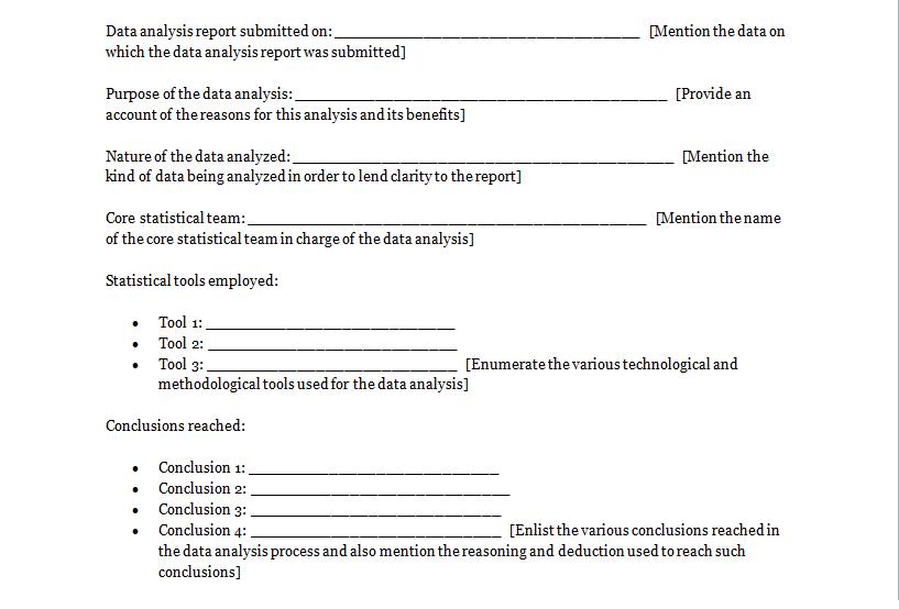 data analysis report format