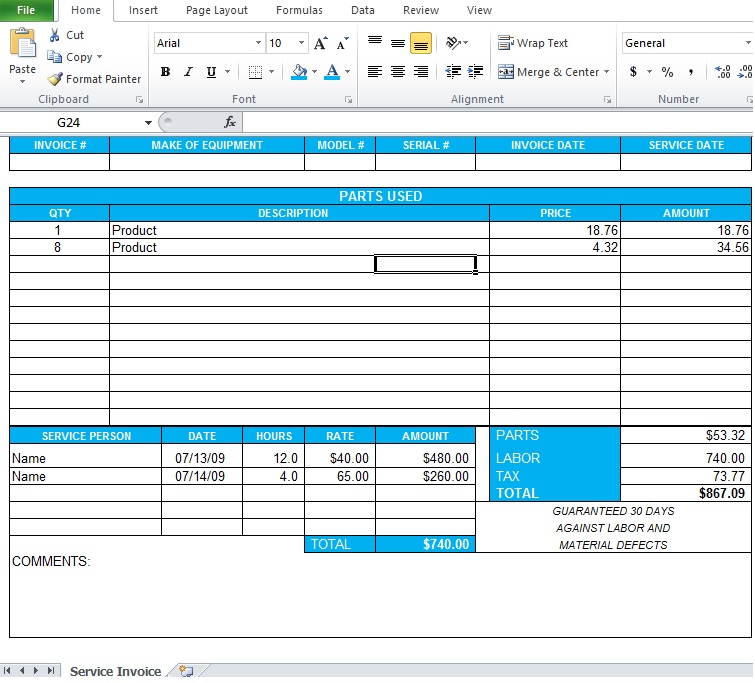 Professional Service Invoice Template Excel - Excel Tmp