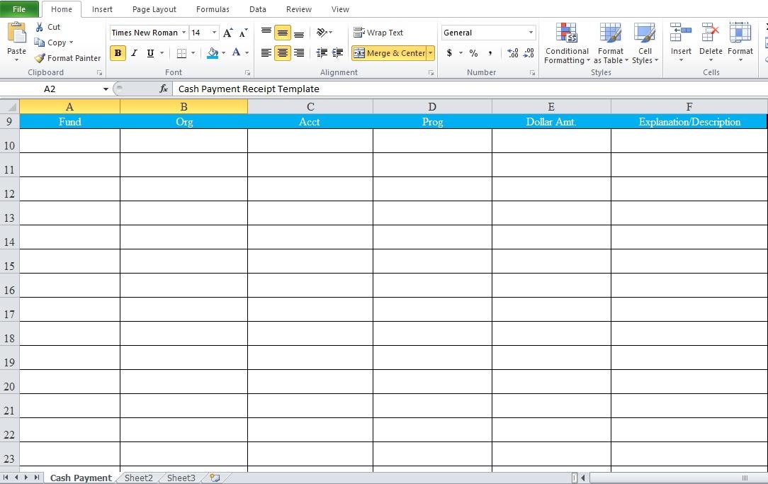 Cash Payment Receipt Template Free - Excel Tmp - cash payment receipt