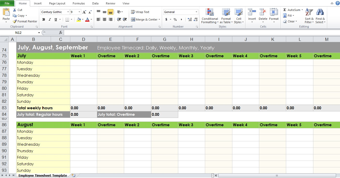 weekly timesheet template word