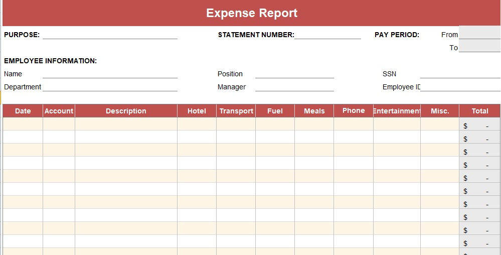 Expense Report Template {Daily - Weekly - Monthly - Annual - expense report template
