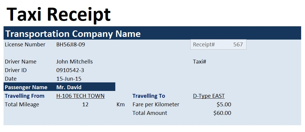 taxi invoice format