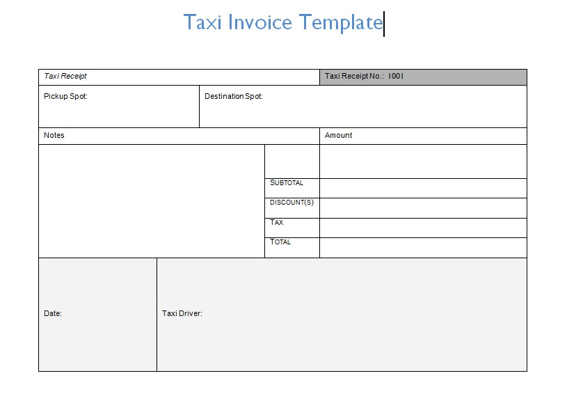 Taxi Invoice Template Format Word And Excel - Excel Tmp