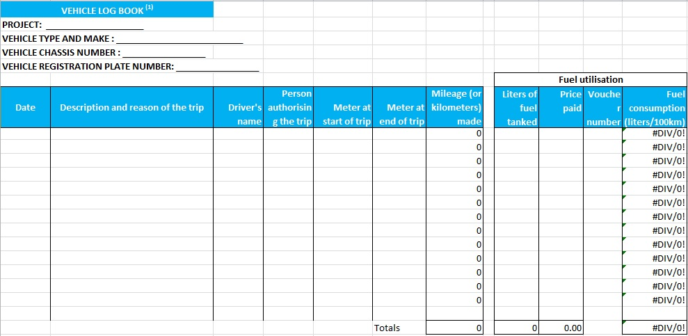 Truck Driver Log Book Template - Excel Tmp