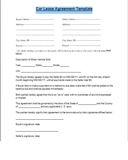 Car Lease Agreement Format Word And PDF - Excel Tmp - sample vehicle lease agreement