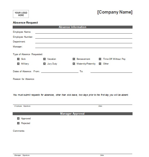 4+ Professional Holiday Request Form Template {Word - Excel - PDF - leave request form template