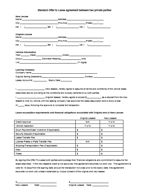 Car Lease Agreement Format Word And PDF - Excel Tmp