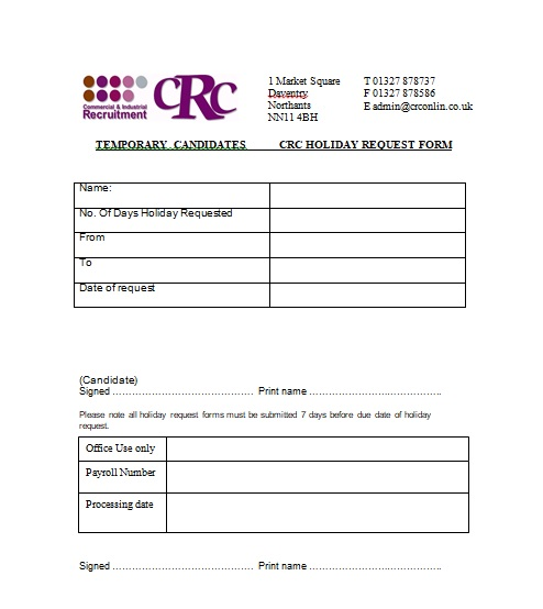 4+ Professional Holiday Request Form Template {Word - Excel - PDF - holiday request form