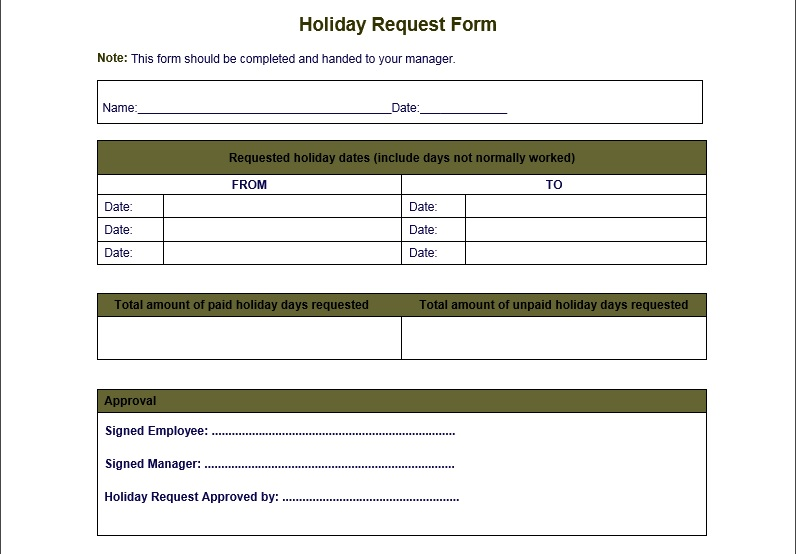 Leave application form template getjobcsatco – Holiday Leave Form Template