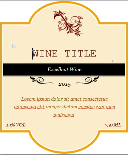 Free Custom Wine Label Template Word - Excel Tmp