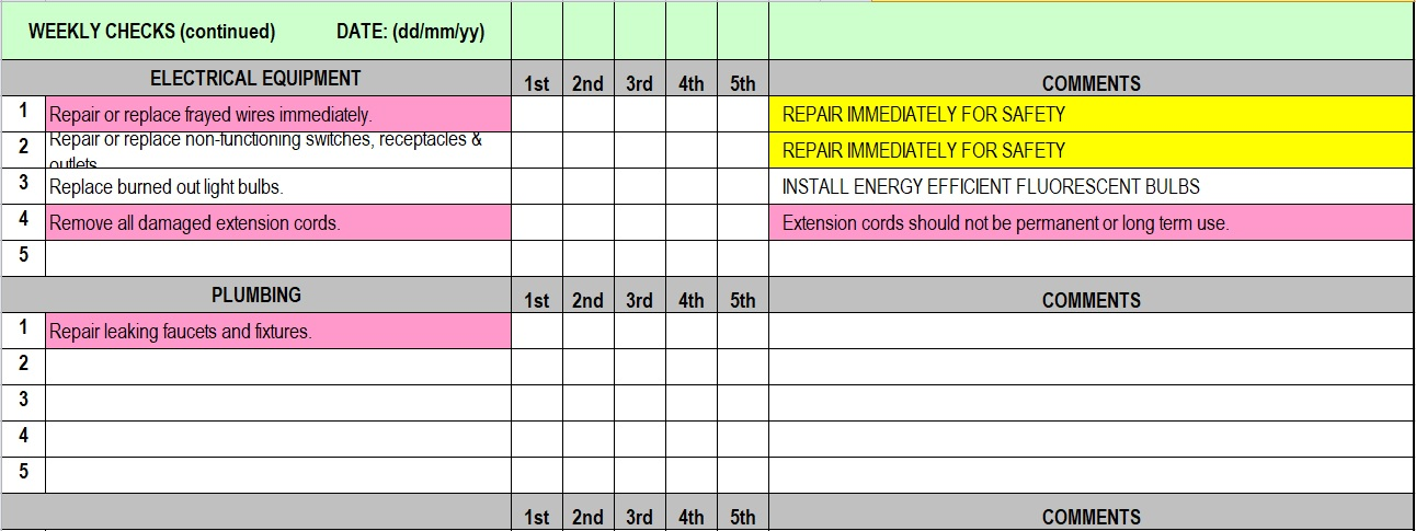 Daily Maintenance Checklist Template - daily checklist template excel