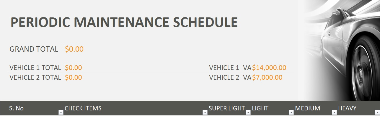Vehicle Maintenance Checklist Template - Excel Tmp
